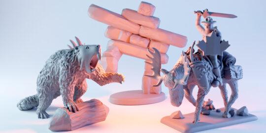 Savi Minis Canadian Miniatures featured image, including a dire beaver, inuksuk, and mountie riding a moose